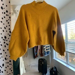 Yellow Balloon Sleeve Sweater S